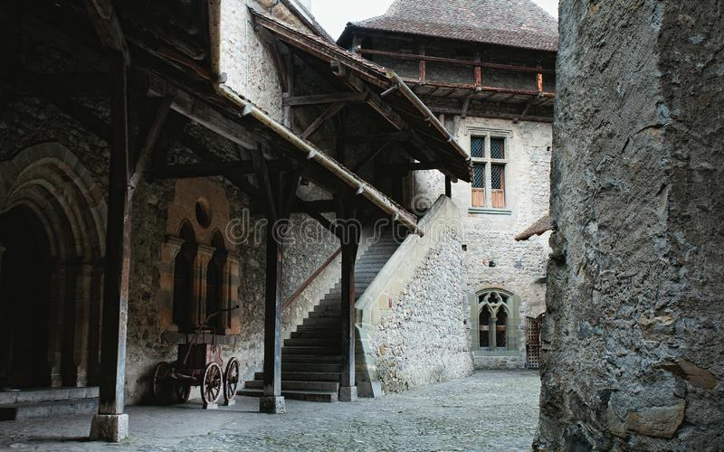 Interior of Medieval Castle in Montreux, Switzerland. Horizontal royalty free stock image