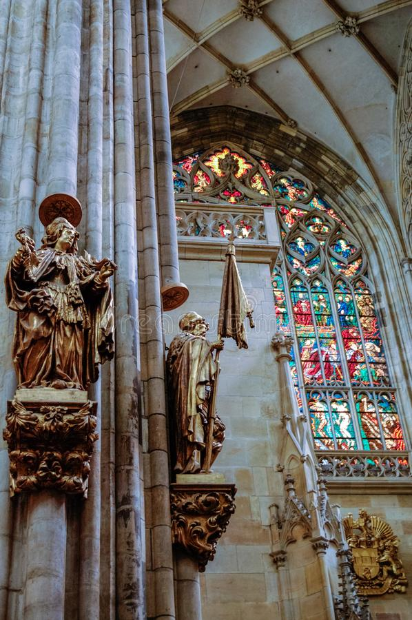 Interior of medieval gothic St. Vitus cathedral. Prague Castle area. Czech Republic royalty free stock photography