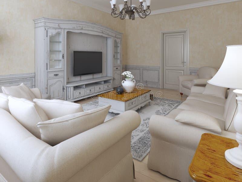 Interior mediterráneo del salón stock de ilustración