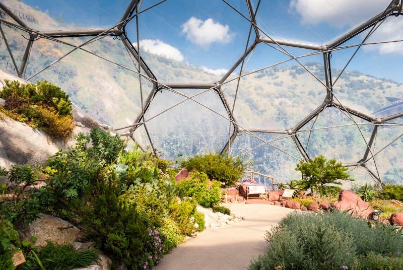 Interior of Mediterranean biome, Eden Project. stock photo