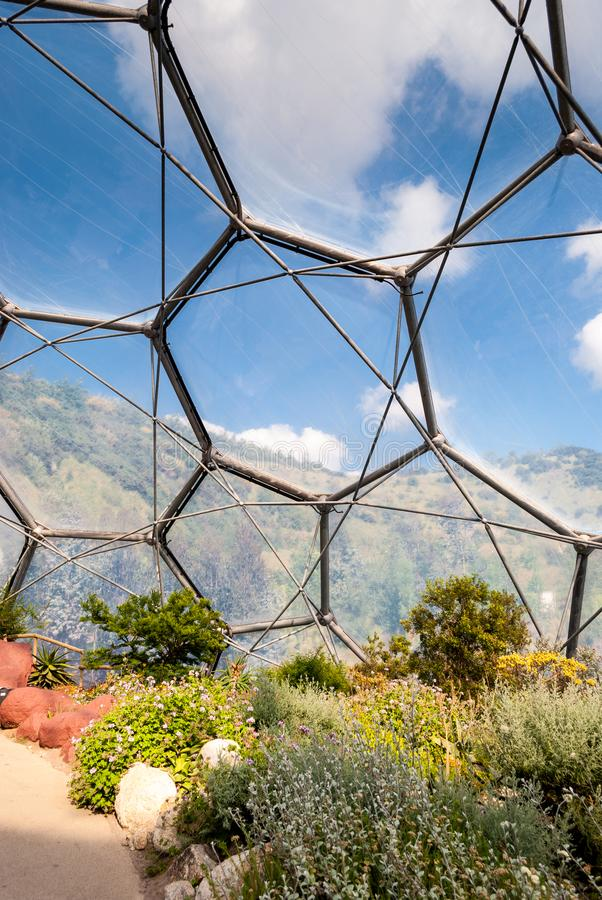 Interior of Mediterranean biome, Eden Project, vertical. royalty free stock photography