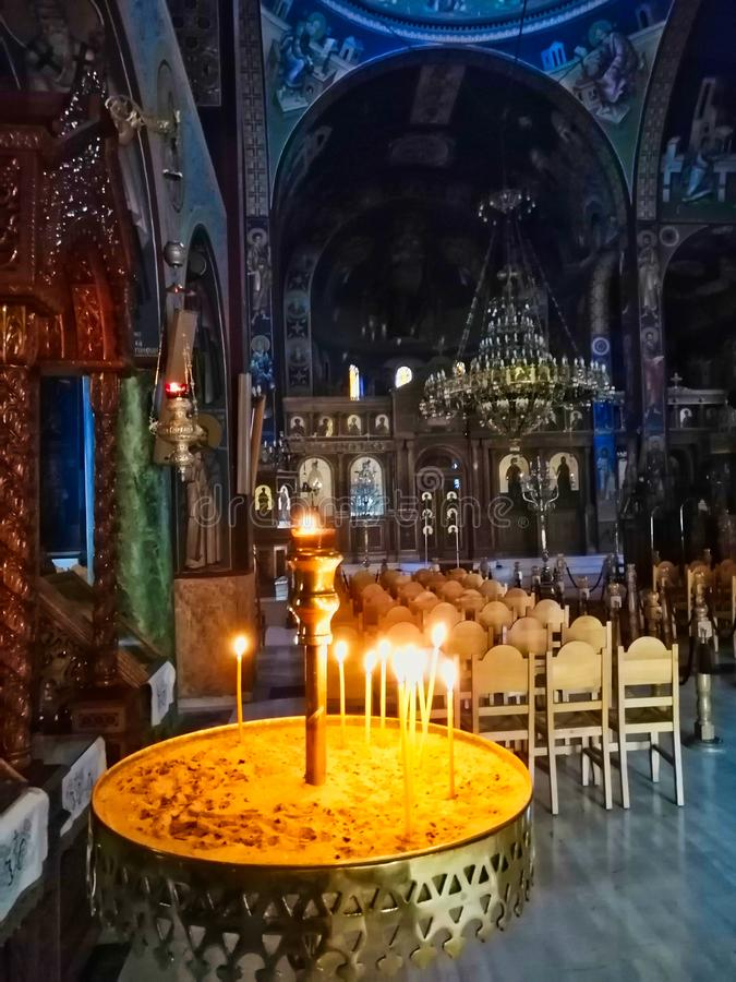 Lit Votive Candles, Greek Orthodox Church Interior, Greece royalty free stock photography