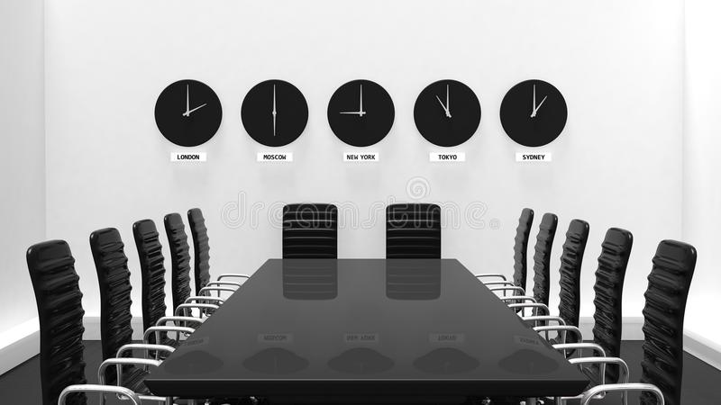 Interior of a meeting room with world clocks vector illustration