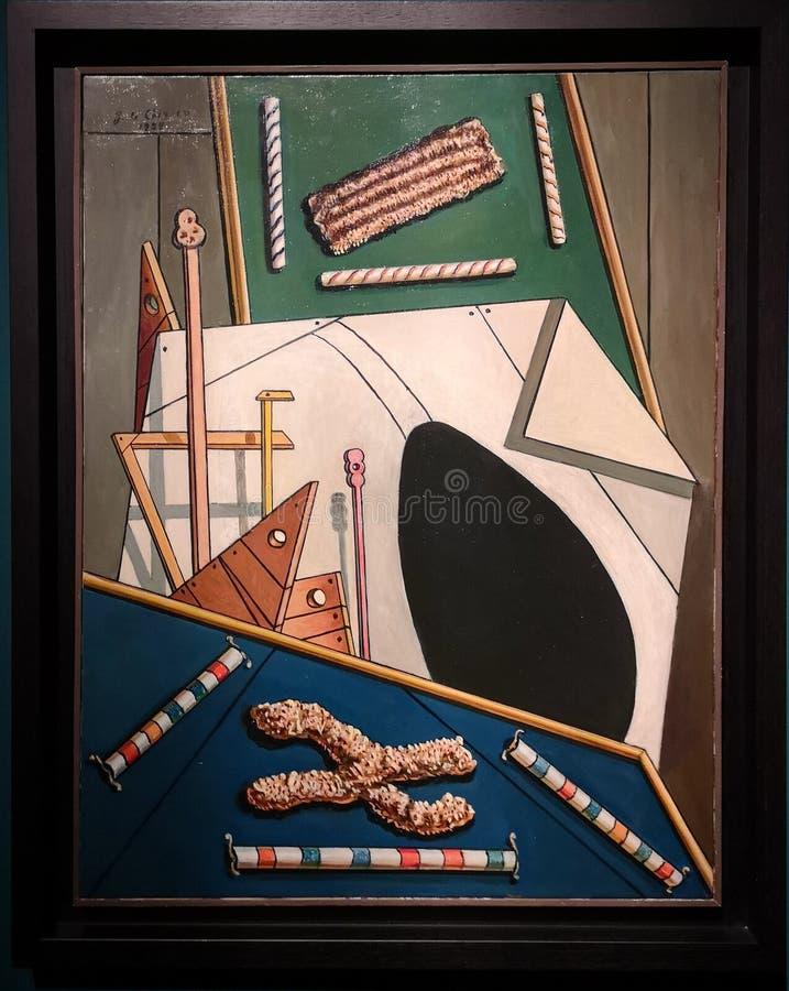Interior metafísico con el óvalo negro, pintando por Giorgio de Chirico imágenes de archivo libres de regalías