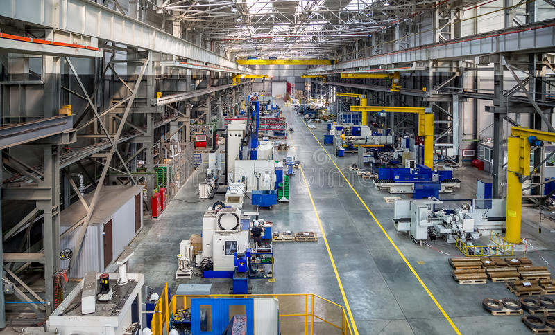The interior metal manufacturing the view from the top stock image