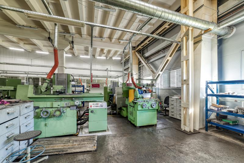 The interior of the metalworking shop. Modern industrial enterprise. stock image