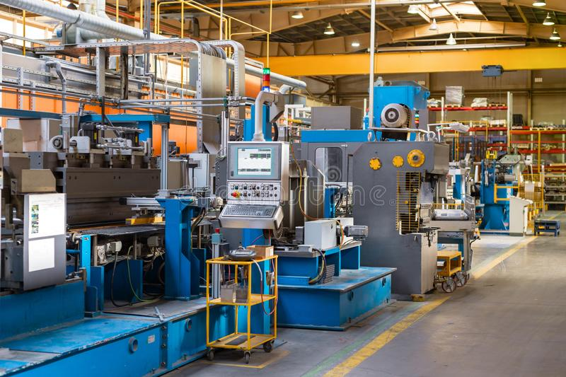 The interior of the metalworking shop. Modern industrial enterprise. stock photography