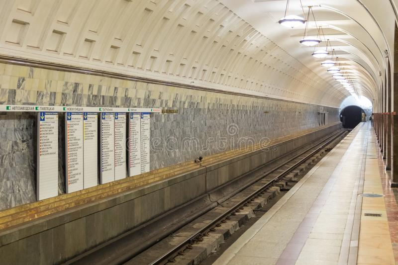 Interior of the metro station Belorusskaya in Moscow, Russia. royalty free stock image