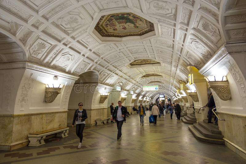 Interior of the metro station Belorusskaya in Moscow, Russia. stock photo