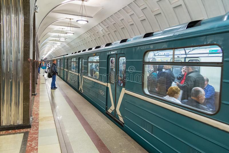 Interior of the metro station in Moscow, Russia. stock images