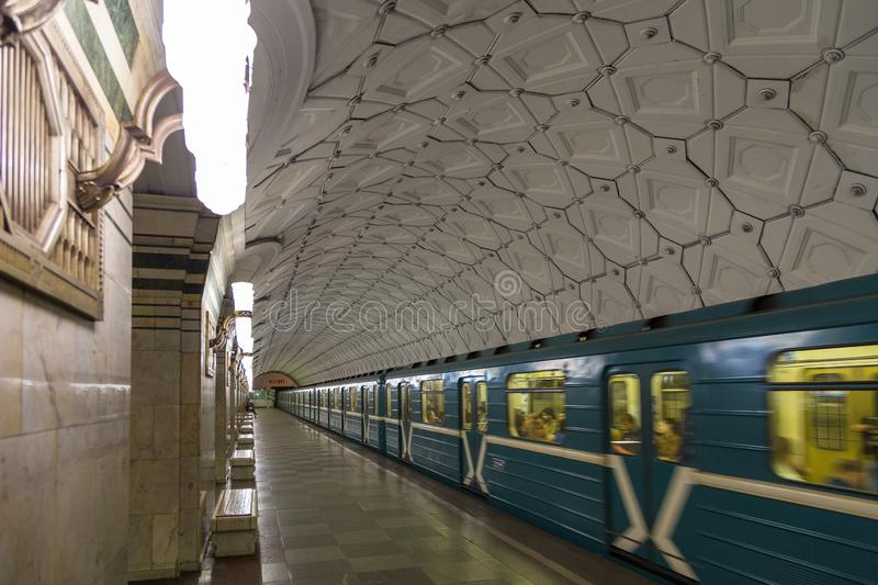 Interior of the metro station in Moscow, Russia. stock photos