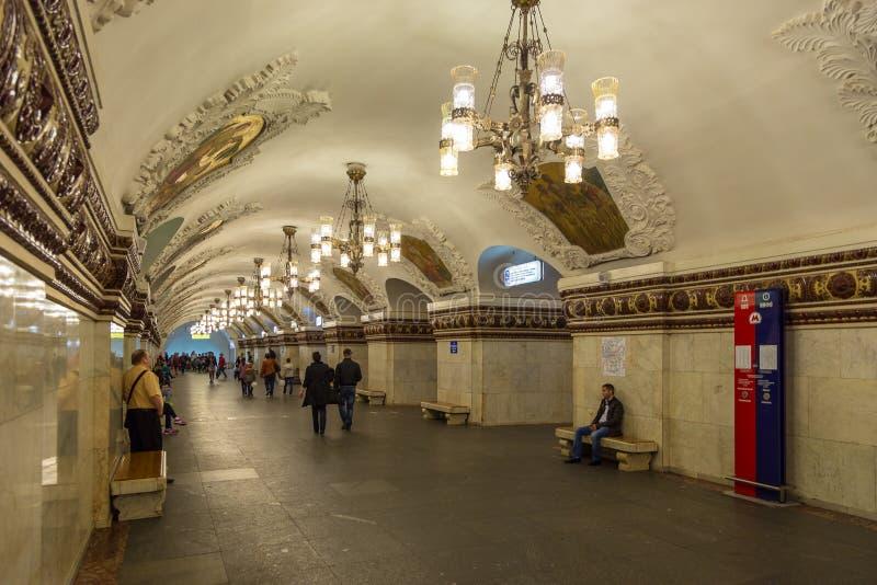 Interior of the metro station Novokuznetskaya in Moscow, Russia. royalty free stock photos
