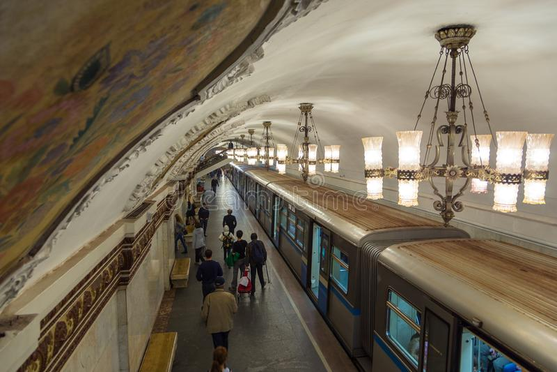 Interior of the metro station Novokuznetskaya in Moscow, Russia. stock photos