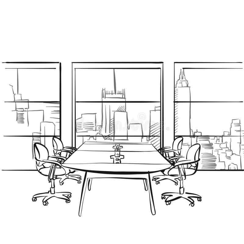 Interior metropolis office. Hand drawn vector illustration. Series of sketched business backgrounds royalty free illustration
