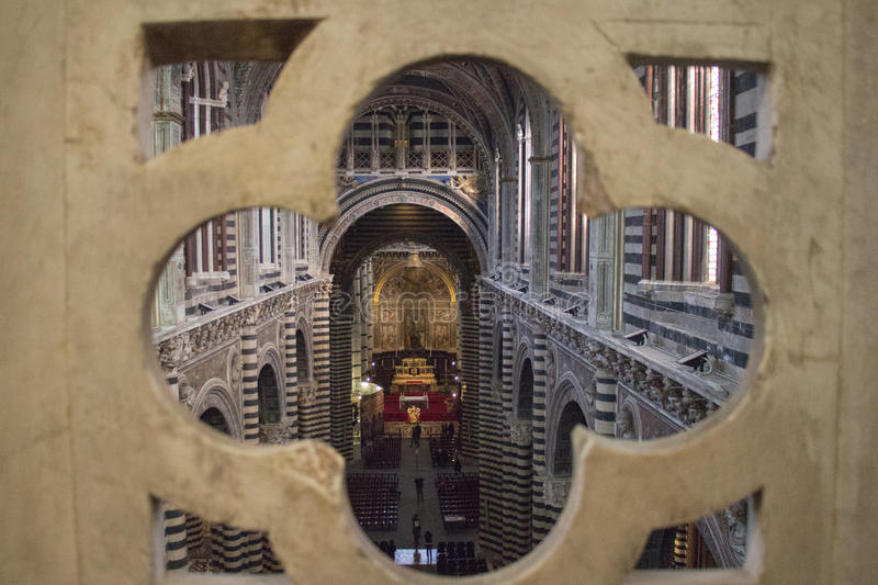 Interior of the Metropolitan Cathedral of Santa Maria Assunta and the Gate of Heaven, Siena, Tuscany. Italy. stock images