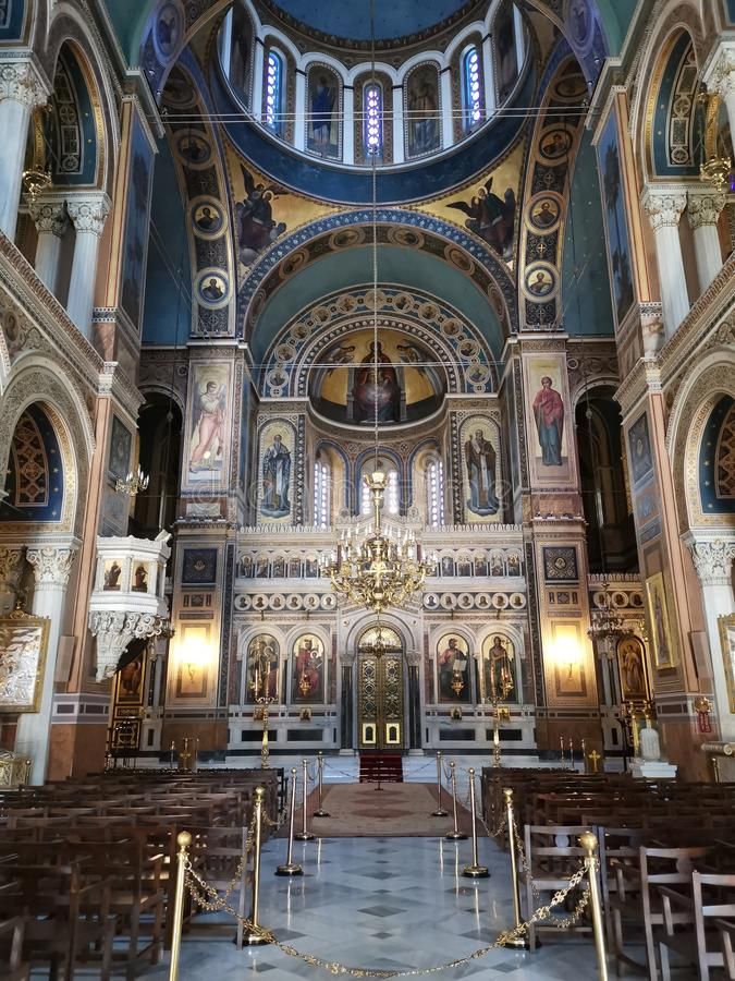 Interior of Metropolitan National Church in Athens. Murals, page, paintings, decorative, decorations, interal, walls, high, ceiling, building, architectural stock photo