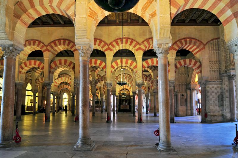 Interior of the Mezquita Cathedral Mosque, Cordoba, Andalucia, Spain stock photo