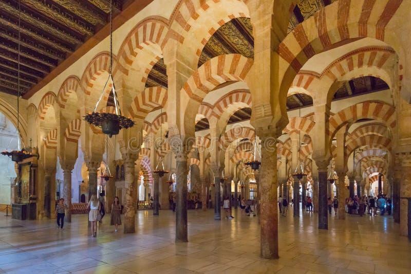 Interior Mezquita in Cordoba. Andalusia, Spain royalty free stock photo