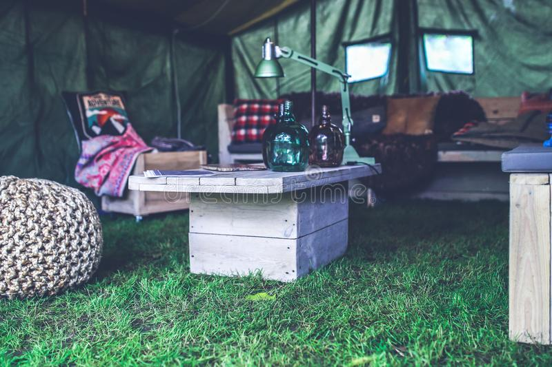 Interior of military tent / wooden table stock photography