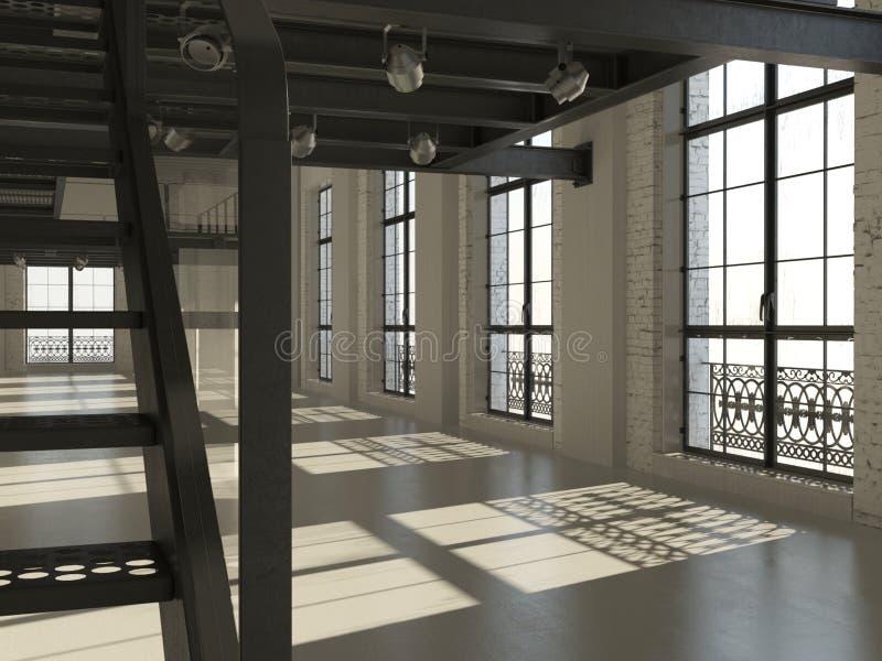 Interior minimalista blanco del desván libre illustration