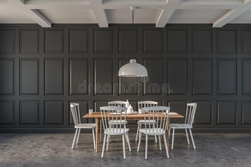 Interior minimalista cinzento da sala de jantar ilustração royalty free