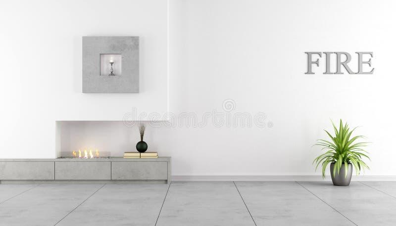Interior minimalista con la chimenea stock de ilustración