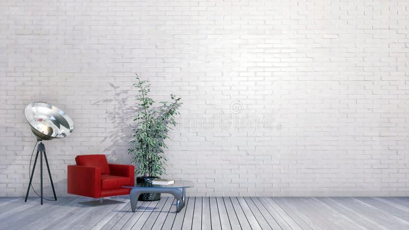 Interior minimalista con la pared de ladrillo blanca vacía 3D ilustración del vector