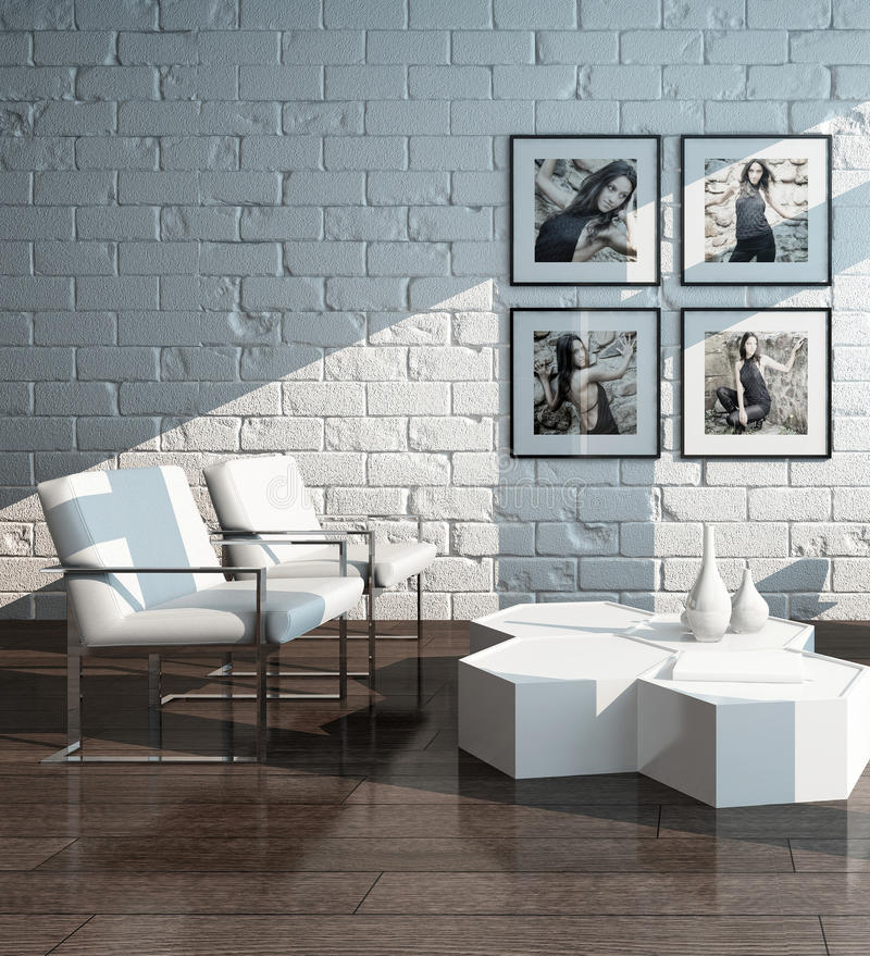 Interior minimalista da sala de visitas com parede de tijolo ilustração royalty free
