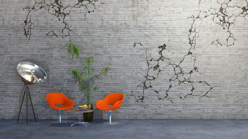 Interior minimalista del estudio o del taller creativo stock de ilustración