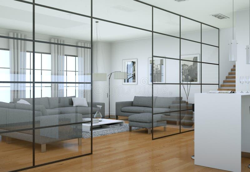 Interior minimalista moderno de la sala de estar en estilo del diseño del desván con los sofás fotos de archivo libres de regalías
