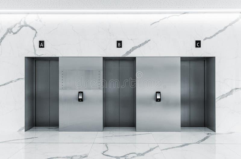 Interior minimalista moderno del pasillo con tres puertas de acero de la elevación foto de archivo