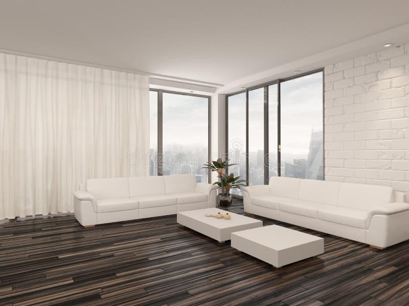 Interior minimalista moderno del salón stock de ilustración