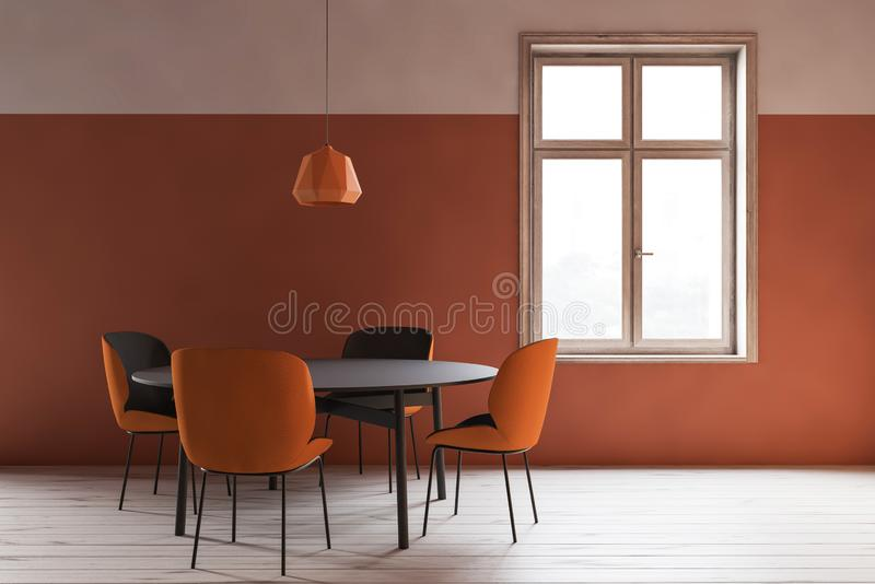 Interior minimalistic alaranjado da sala de jantar ilustração stock