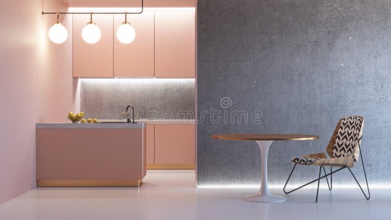 Interior minimalistic cor-de-rosa da cozinha ilustração stock