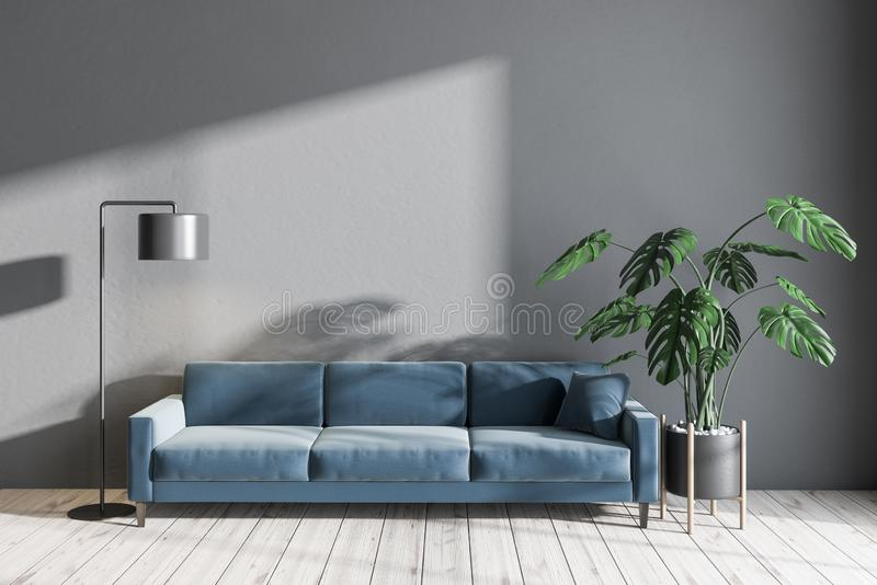 Gray Living Room With Blue Sofa Stock Illustration Illustration Of Front Lounge 139393491