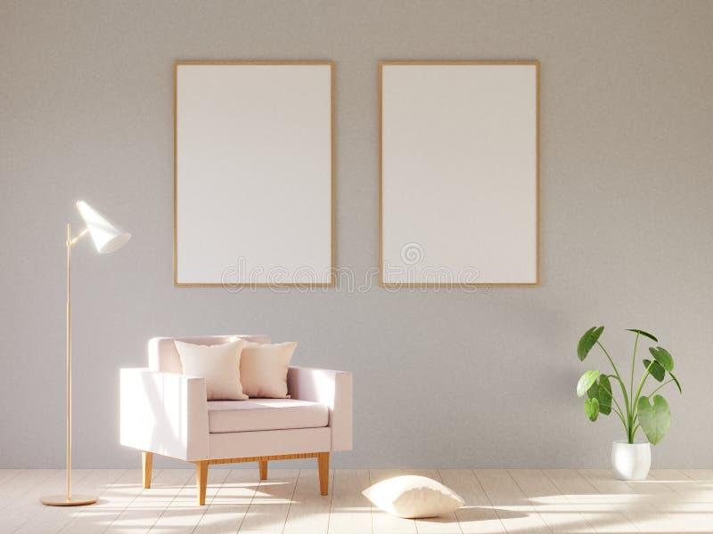 Interior minimalistic moderno con una butaca 3d rinden imagen de archivo libre de regalías