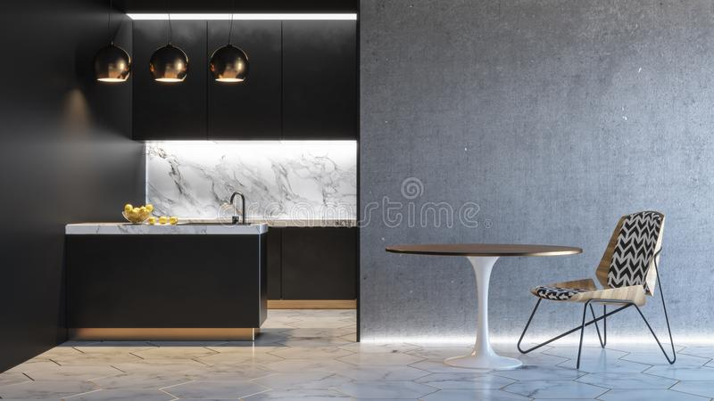 Interior minimalistic negro de la cocina 3d rinden mofa del ejemplo para arriba libre illustration