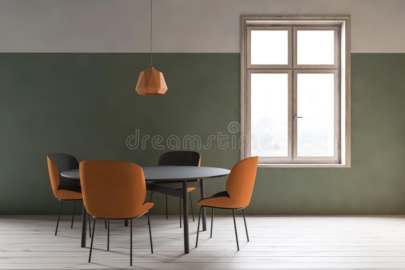 Interior minimalistic verde da sala de jantar ilustração do vetor