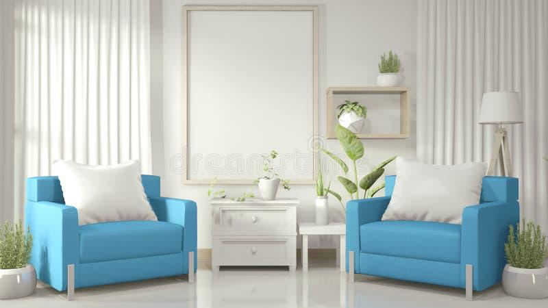 Interior Mock omhoog posterframe in witte woonkamer met blauwe armstoel en decoratie planten op witte glanzende vloer 3D-renderin royalty-vrije illustratie