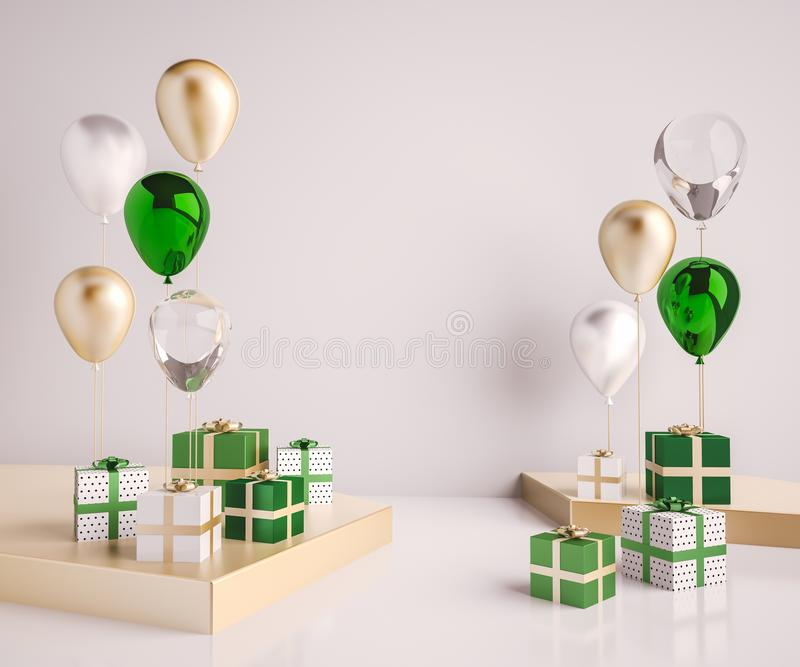 Interior mock up scene with green and gold gift boxes and balloons. Realistic glossy 3d objects for birthday party or promo poster. S or banners. Empty space for stock illustration