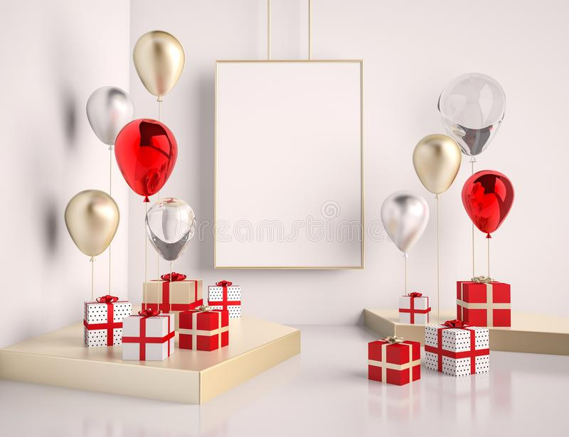 Interior mock up scene with red and gold gift boxes and balloons. Realistic glossy 3d objects for birthday party or promo posters vector illustration