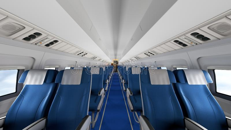 Interior of modern airplane with passengers on seats. Empty airplane seats in modern airplane interior. 3D Rendering royalty free stock image