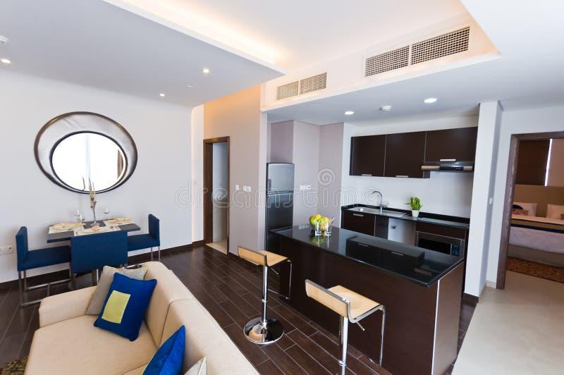 Interior of modern apartment stock photos