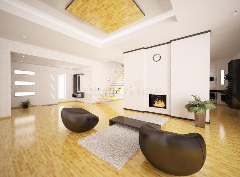 Download Interior Of Modern Apartment 3d Render Royalty Free Stock Images - Image: 19485219