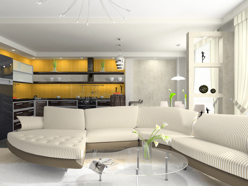 Interior of the modern apartment royalty free stock photography