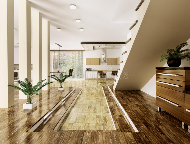 Interior Of Modern Apartment 3d Render Stock Photos