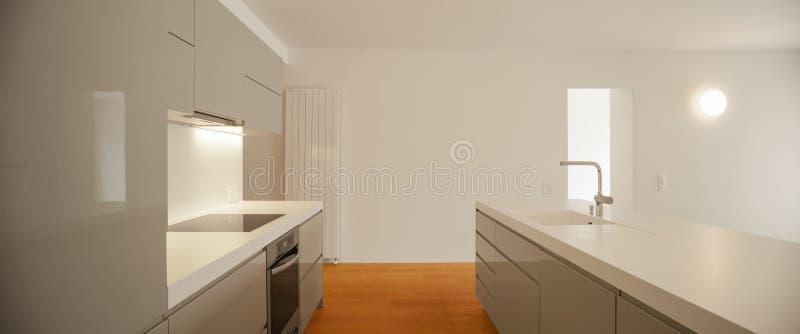 Interior of modern apartment, kitchen. Interior of modern apartment, detail of modern grey kitchen with luxurious furniture royalty free stock photos