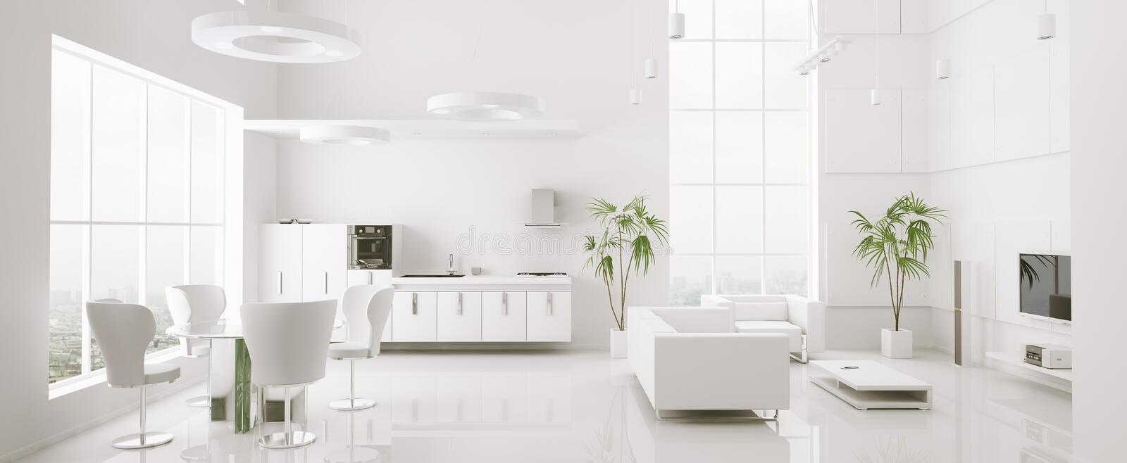 Interior of modern apartment panorama 3d render stock illustration