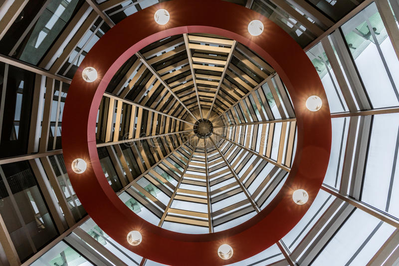 Interior of the modern architecture stock images