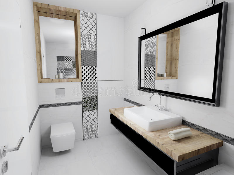 Interior of modern elegant bathroom stock illustration